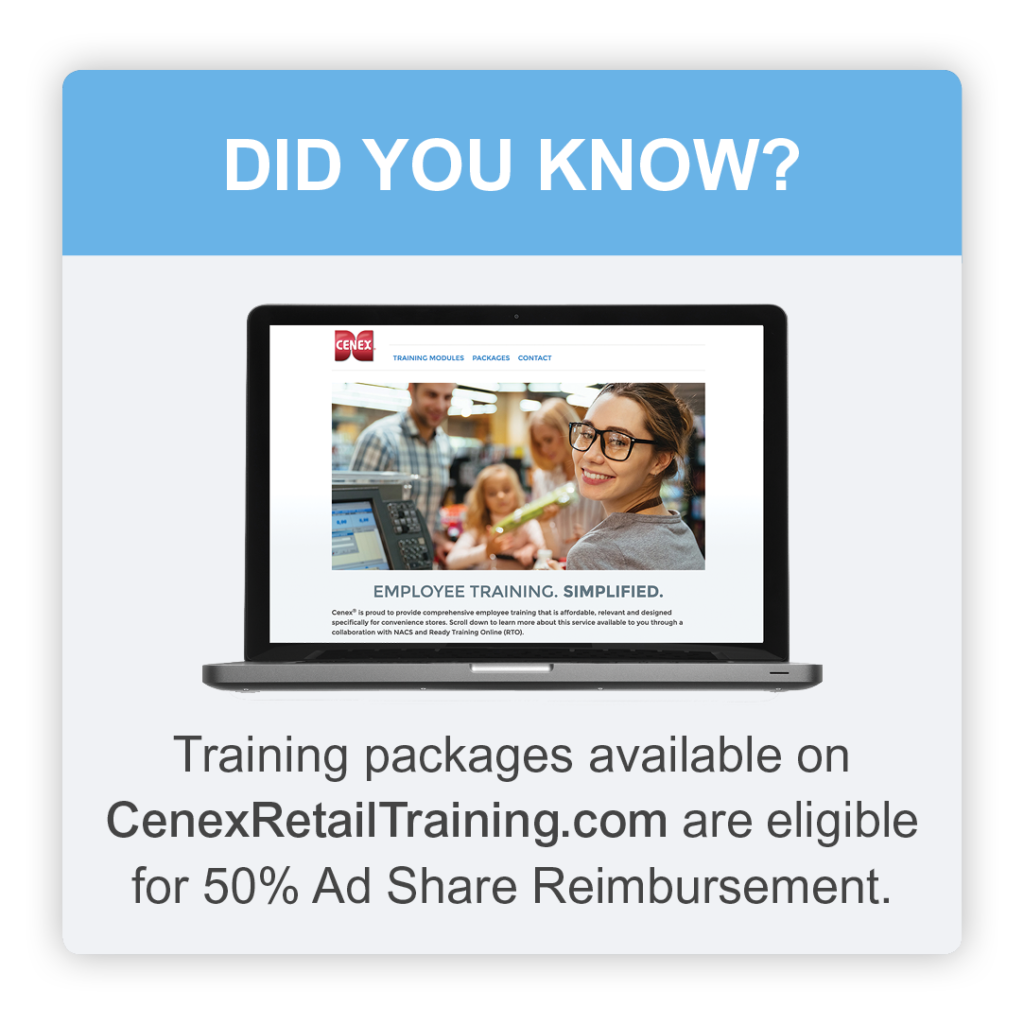 Training packages available on CenexRetailTraining.com are eligible for 50% Ad Share reimbursement